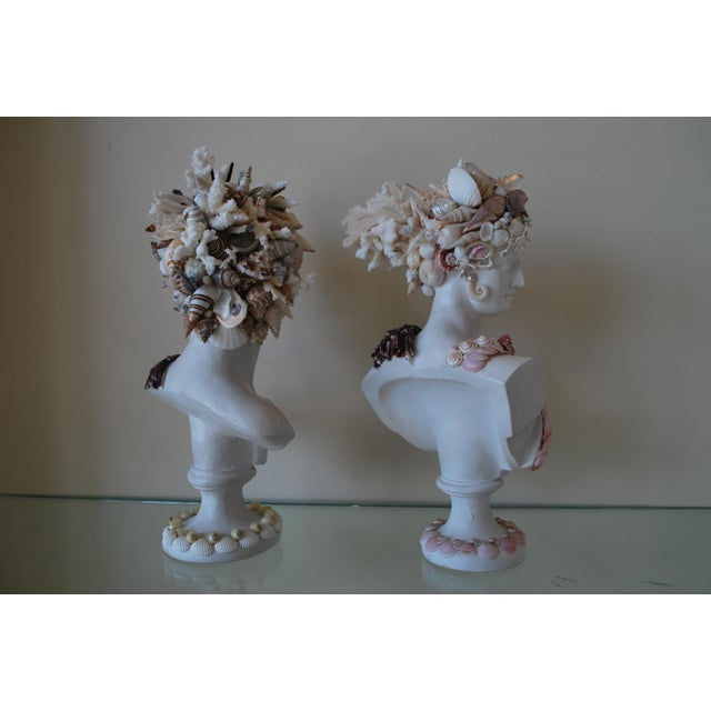 Mediterranean Mini Shell Encrusted Apollo & Diana Busts - a Pair For Sale - Image 3 of 4