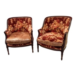 Late 20th Century French Inspired Bergere Barrel-Back Armchairs - a Pair For Sale