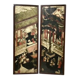 Pair 17th Century Chinese Coromandel Lacquer Framed Panels For Sale