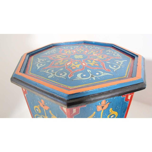 Moroccan Hand Painted Blue Moroccan Pedestal Tables - a Pair For Sale - Image 3 of 13