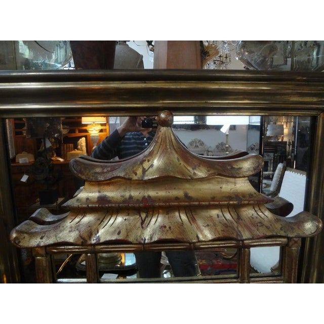 Chinoiserie Italian Giltwood Chinese Chippendale Style or Chinoiserie Pagoda Mirror For Sale - Image 3 of 12
