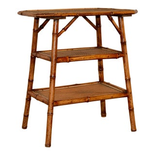 19th C French 3-Tier Bamboo Table For Sale