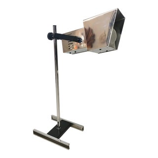 Vintage Adjustable Silver Metal Desk Lamp For Sale