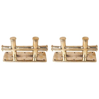 Brass Ship's Cleats or Bollards - a Pair For Sale