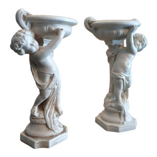 1950s Vintage Alexander Backer Chalkware Cherub Statues - a Pair For Sale