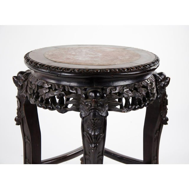 19th C. Chinese Marble-inlaid Carved Wooden Tabouret For Sale In Atlanta - Image 6 of 12