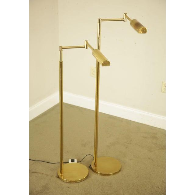 Koch & Lowy OMI Vintage Brass Pair Swing Arm Floor Lamps For Sale - Image 4 of 12