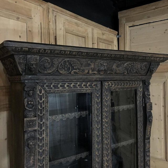 Renaissance 19th Century English Renaissance Weathered Oak Secretary Bookcase For Sale - Image 3 of 11