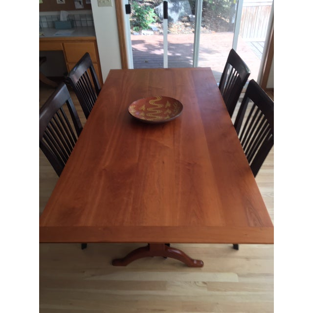"Shaker Trestle Dining Table designed and built at Dana Robes in Enfield New Hampshire. Dimensions 36"" x 72"" x 29"" high in..."