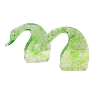 Green Glass Geese Figures / Bookends - a Pair For Sale