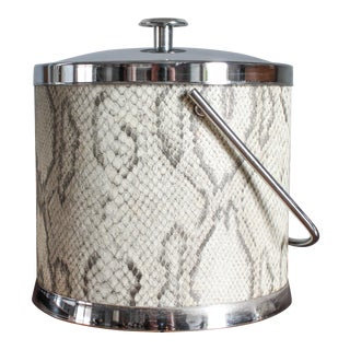 1960s Vintage Chrome and Faux White Snakeskin Ice Bucket For Sale