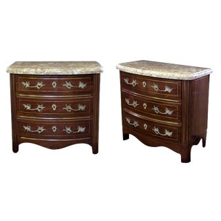 A Handsome Pair of Danish Empire Style Mahogany 3-Drawer Marble Topped Bow-Front Chests For Sale