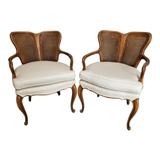 Vintage French Provincial Louis XV Caned Back Parlor Chairs - a Pair For Sale