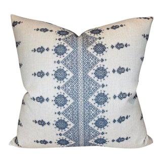 Carmania Woven Pillow Cover in Indigo For Sale