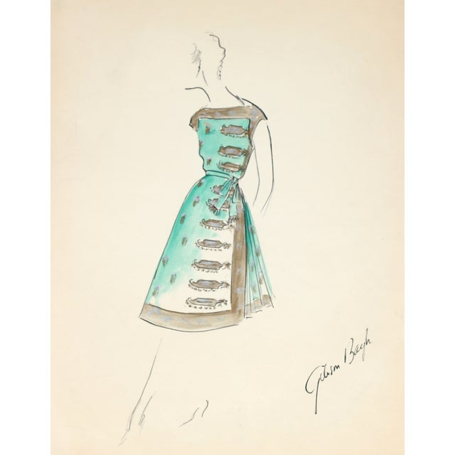 G. Bayh 1950s Cocktail Dress Illustration - Image 1 of 2