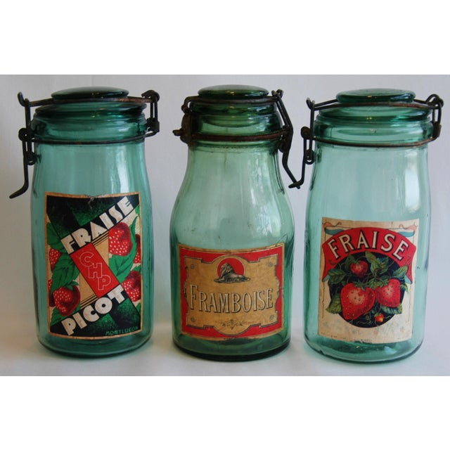 1930s French Canning Preserve Jars w/ Labels & Lids - Set of 3 - Image 4 of 8