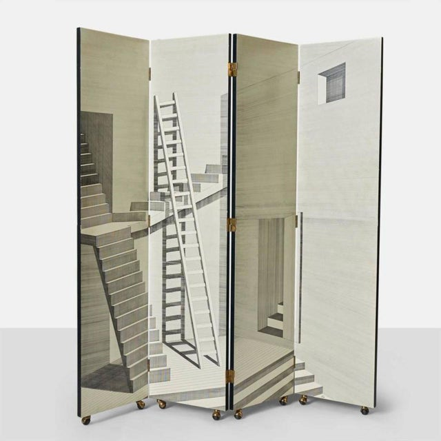 Scaletta Folding Screen by Piero Fornasetti For Sale - Image 9 of 9