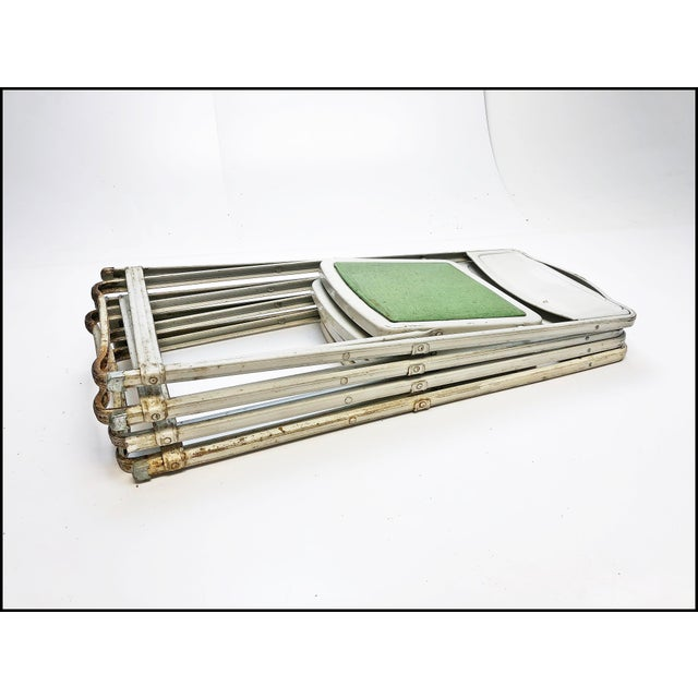 Vintage White Metal Folding Chairs With Green Vinyl Seats - Set of 4 For Sale - Image 10 of 11
