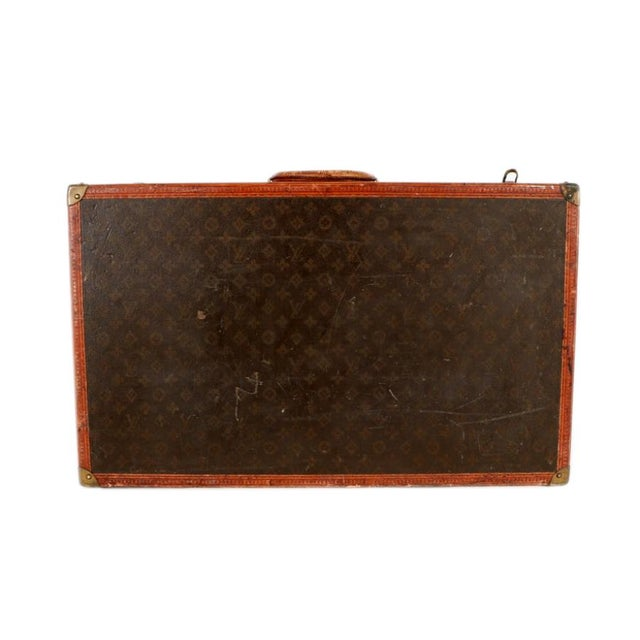Early 20th Century Louis Vuitton Paris Monogram Canvas Trunk, Hard Suitcase For Sale - Image 12 of 13
