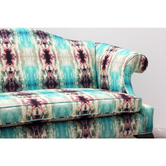 2010s Modern Custom Upholstered Boho Chic Love Seat For Sale - Image 5 of 8
