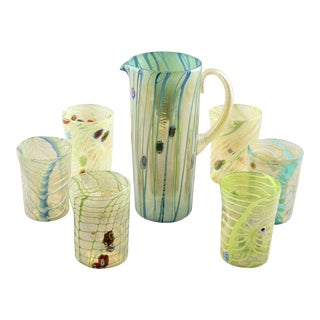 Green Yellow Murano Glass Pitcher With Tumblers - Set of 7
