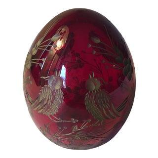 Vintage Hand Blown Glass Lg Egg Carved Gilt Birds