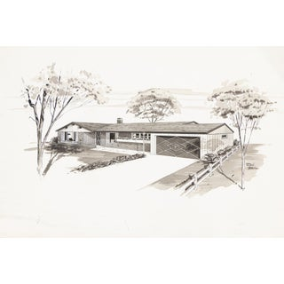 Mid Century Home Rendering Watercolor For Sale