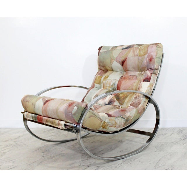 Mid Century Renato Zevi Chrome Elliptical Rocking Chair For Sale In Detroit - Image 6 of 10
