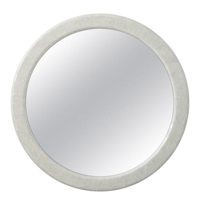 1970s Large Round Karl Springer Style Mirror For Sale - Image 5 of 5