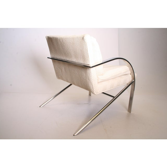 Vintage Chrome Upholstered Arm Chair by Bernhardt Flair For Sale - Image 5 of 11
