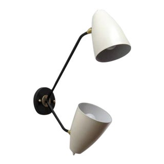 Gallery L7 Double-Arm Brass Wall Lights 'Le-2' For Sale