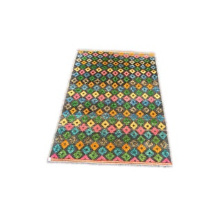 Colorful Wool Rug Overall Geometric Pattern From India