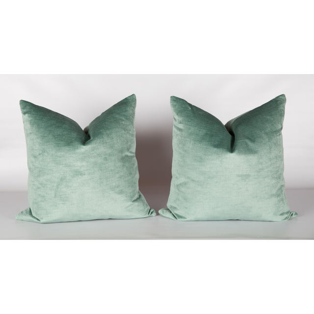 Contemporary Greek Key Green Velvet Pillows - A Pair For Sale - Image 3 of 4