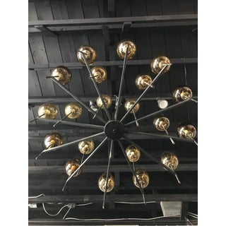 Mid Century Modern Lightolier Chandelier With Amber Globes Preview