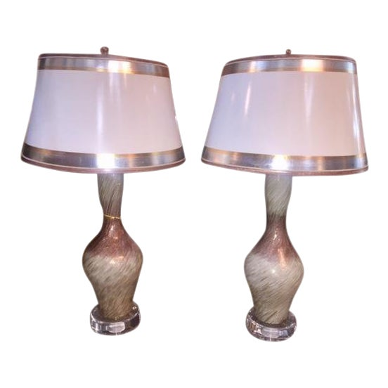 Vintage Burgundy & White Copper Fleck Murano Lamps - A Pair For Sale