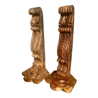Carved Mahogany Architectural Corbels - a Pair For Sale