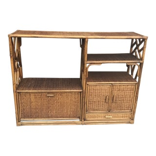 1960s Boho Chic Bamboo and Wicker Etagere For Sale