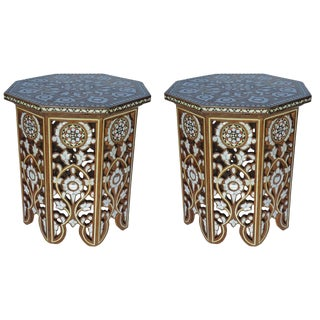 Pair of Moorish Mother-Of-Pearl Inlay Side Tables For Sale