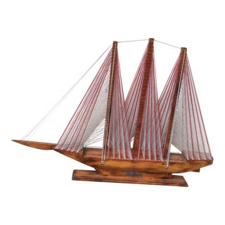 Mid Century Wood and Thread Clipper Ship Model For Sale