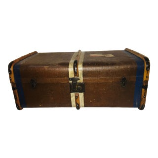 1940s Vintage Canvas Wood & Leather English Trunk For Sale