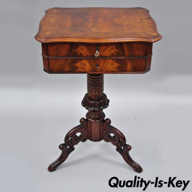 Antique Victorian Sewing Stand Side Table For Sale - Image 12 of 12