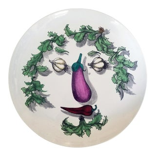 Piero Fornasetti Vegetable Face Ceramic Plate, Arcimboldesca Pattern