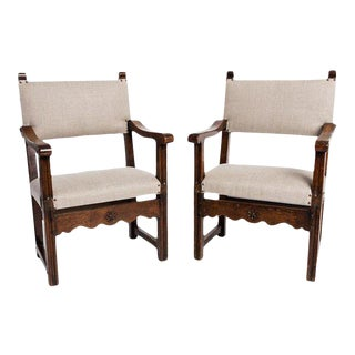 Antique English Country Armchairs With Floral Carvings For Sale