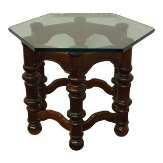 Ethan Allen Royal Charter Oak Hexagonal Glass Topped End Table For Sale