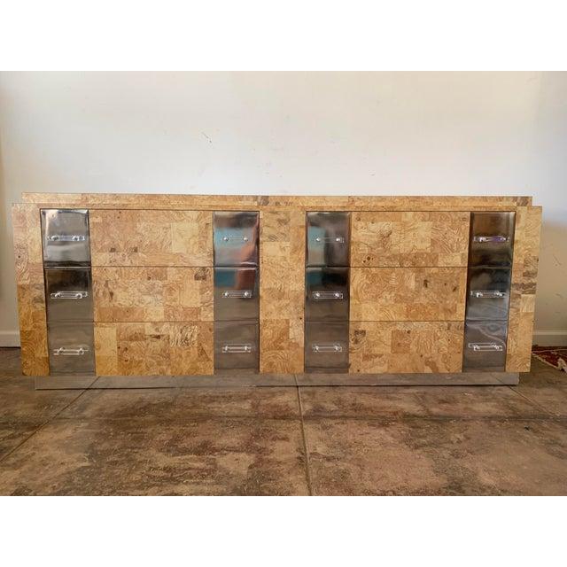 Birdseye Burlwood Lucite and Chrome Dresser For Sale - Image 9 of 9