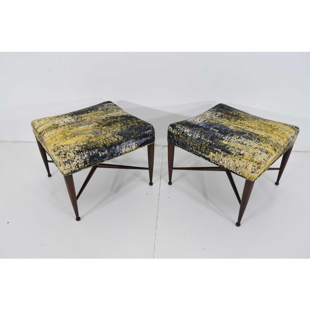 """Pair of """"Thebes"""" stools by Edward Wormley for Dunbar. Fully restored. Based refinished in walnut tone over mahogany. New..."""