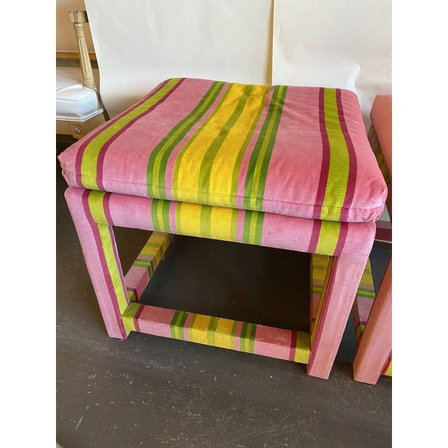 Mid-Century Modern Pair of Velvet Pink and Green Stripe Milo Baughman Style Parson Benches For Sale - Image 3 of 7