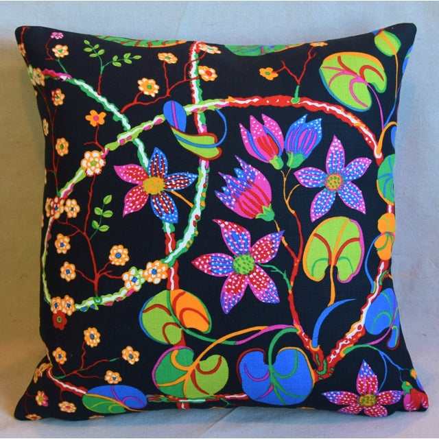 """Boho Chic Designer Josef Frank """"Teheran"""" Floral Linen Feather/Down Pillows 18"""" Square - Pair For Sale - Image 3 of 11"""