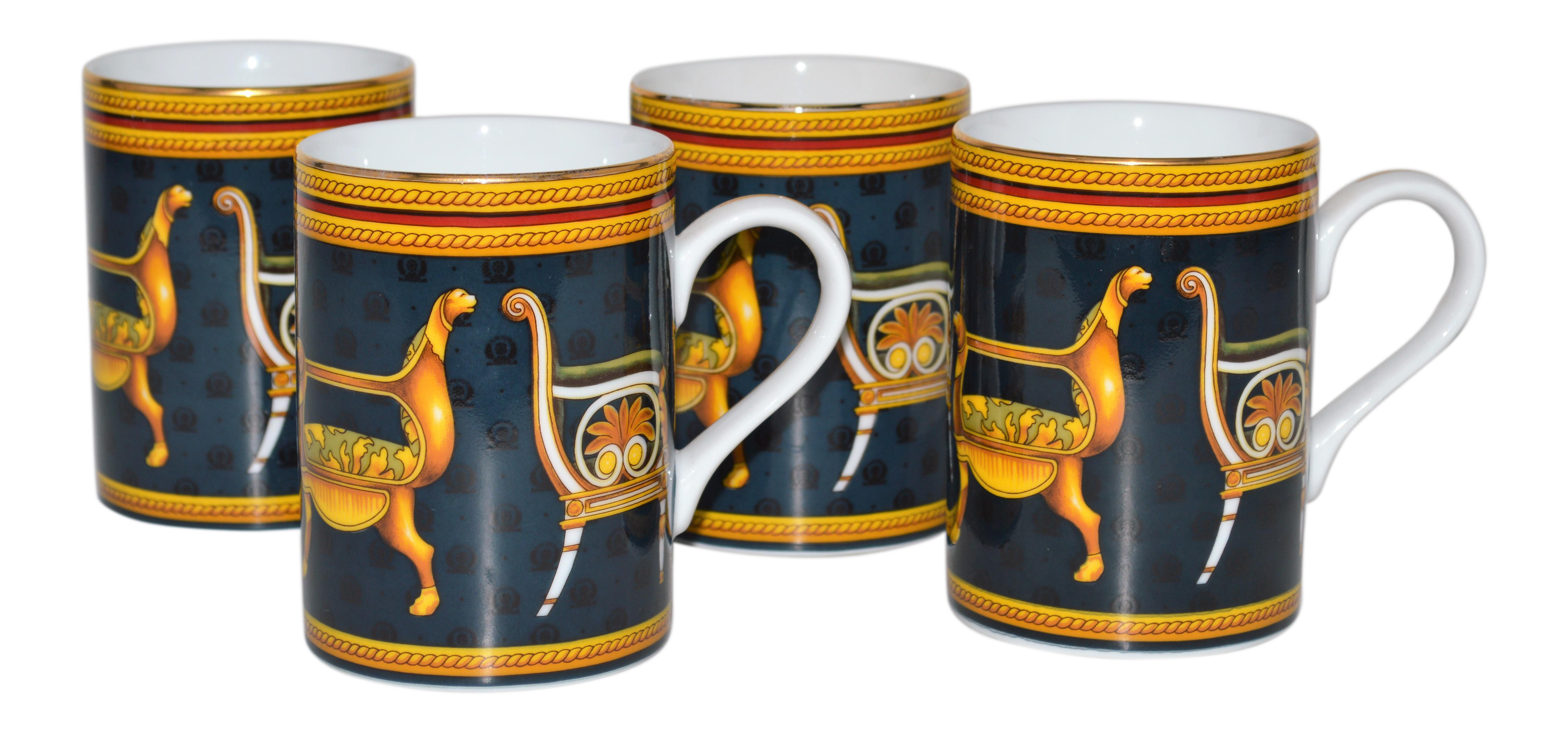 Gucci Historical Chairs Porcelain Coffee Cups Set of 4