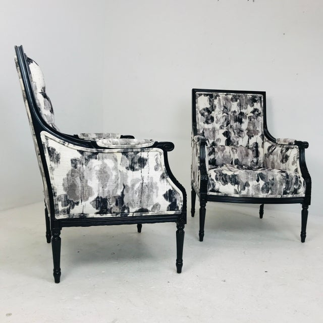 Pair of elegant black and white watercolor armchairs by Wesley Hall. Brand new, only used for staging at Crespi Estate in...